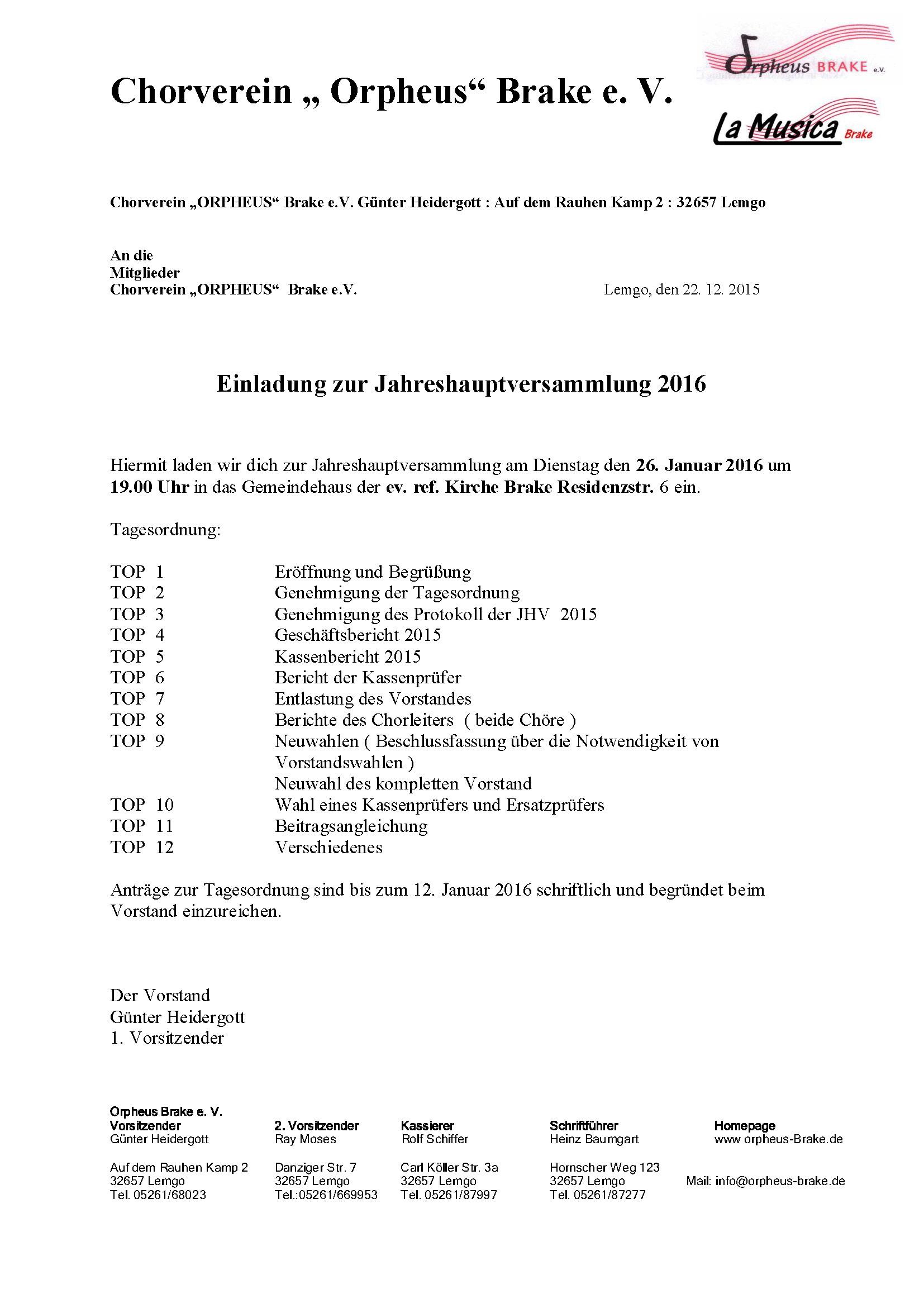 Einladung Jahreshauptversammlung 2016